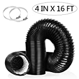 4 Inch 16FT Air Duct,Insulation Aluminum Clothing Dryer Hose,Black PVC...