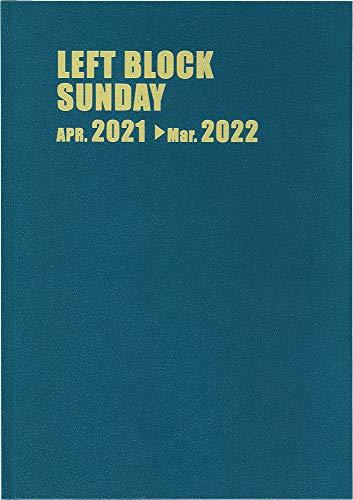 博文館 手帳 2021年 4月始まり レフトブロック サンデー A4 12ヵ月 ターコイズ No.4263