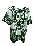 Blusas Dashiki africanas unisex, manga corta, con impresión tradicional africana, para verano multicolor Green and white Talla única