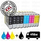 vhbw 10x kompatible Ersatz Tintenpatrone Druckerpatrone für Brother wie LC-1000BK, LC-1000C, LC-1000M, LC-1000Y, LC-970BK, LC-970C, LC-970M, LC-970Y