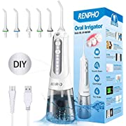 RENPHO Water Flosser, Cordless Portable Ultra Oral Irrigator for Teeth, DIY Mode Dental Teeth Cleaner Electric for Braces, 1800 Water Pressure, Anti-Leak, USB Charge, IPX7 Waterproof, Home and Travel