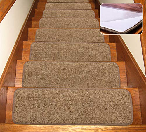 Seloom Stair Treads Carpet Non-Slip with Skid Resistant Rubber Backing Specialized for Indoor Wood Steps, Removable Washable Step Floor Rugs for Stairs (30x8Inch, 13 Pieces, Pure Brown)