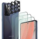 QHOHQ 3 Piezas Protector de Pantalla para Samsung Galaxy A72 4G/5G con 3 Piezas Protector de Lente de Cámara,Cristal Templado Membrana,9H Dureza - HD - Anti-Arañazos - Sin Burbujas - Fácil de Instalar