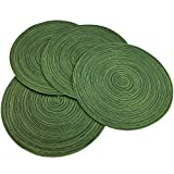 Red-A, Placemats, Round Placemats for Dining Table Set of 4 Woven Heat Resistant Non-Slip Kitchen Table Mats Diameter 14 Inch(Hunter Green)