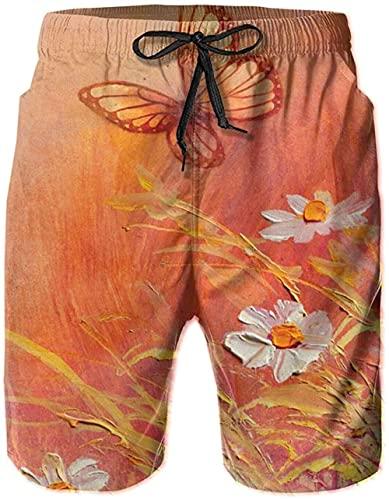 Shorts De Playa Transpirables para Hombre Bañador Shorts Sunny Butterfly Daises De Secado Rápido Adecuado para Surf De Verano Y Junto A La Piscina-XL