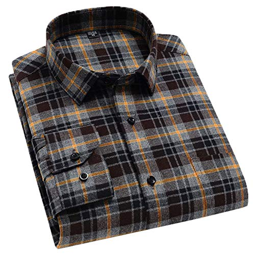 Chyoieya Camisa casual de cuadros cepillada con bolsillo de parche de manga larga de franela de ajuste estándar