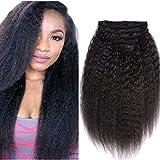 Topuhair Yaki Clips Tissage Cheveux Femme Noir 1B Cheveux Kinky Curly Clips 8Pcs/Set 120g Remy Cheveux Humain Brésil (16Pouce/40cm, 1B Natural Noir)