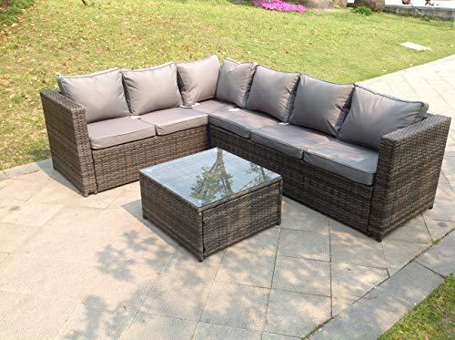 Fimous 6 Seater Grey Left Hand Rattan Corner Sofa Set Coffee Table Garden Furniture Outdoor