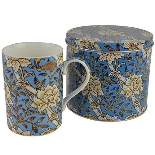 porcelaine fine William Morris design vintage TASSE/Gobelet avec boite par Leonardo cadeau - Blanc Blossom avec Bleu B/Sol