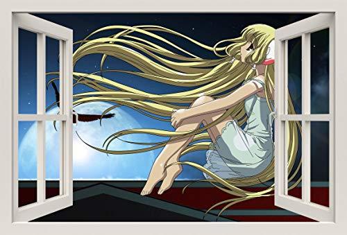 Unified Distribution Anime & Manga - Chobits Chii träumt - Wandtattoo mit 3D Effekt, Aufkleber für Wände und Türen Größe: 92x61 cm, Stil: Fenster