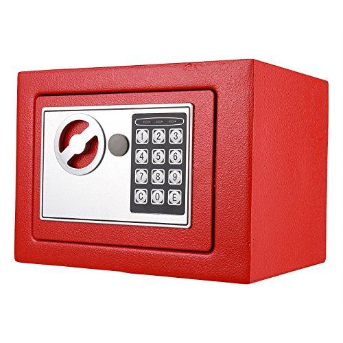 ANMAS HOME Caja de Seguridad electrónica Digital Personal con Caja de Seguridad, Color Rojo