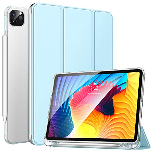 MoKo Case Fit New iPad Pro 11 Inch Case 2021 - iPad Pro 11 3rd Gen Case with Pencil Holder, [Support iPencil Charging] Soft TPU Smart Trifold Shell Cover Translucent Back, Auto Wake/Sleep, Sky Blue