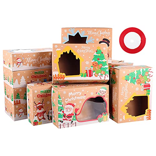 EXCEART 12 cajas de galletas de Navidad con ventana, de papel de estraza, para vacaciones, panadería, alimentos, para regalos, regalos, cajas con cinta de 22 m, para Navidad