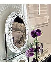DermAllura Hollywood Mirror With Lights - Crystal Vanity Mirror I Vanity Mirror with Lights I Hollywood Vanity Mirror with Lights I Oval Mirror I Make Up Mirror With Lights I Lighted Vanity Mirror
