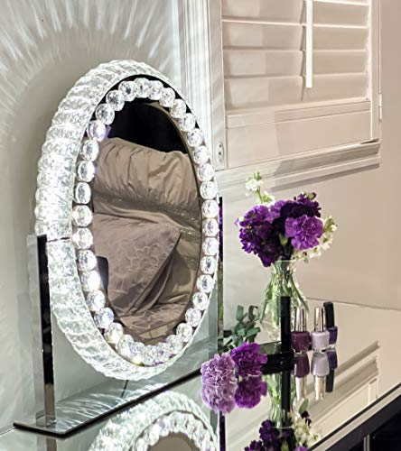 Hollywood Mirror with Lights - Crystal Vanity Mirror I Vanity Mirror with Lights I Hollywood Vanity Mirror with Lights I Oval Mirror I Crystal Make Up Mirror with Lights I Hollywood Mirror