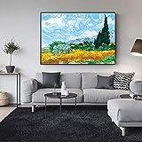 APAZSH Cuadros Decoracion Pinturas impresionistas Famosas Van Gogh Cypress Campo de Trigo Lienzo Arte Pinturas reproducciones Cuadros de Pared Decoracion del hogar60x90cm x1 Sin Marco