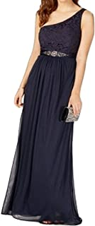 Adrianna Papell Women's One Shoulder Tulle Gown with Lace Bodice, Midnight Blue, 4