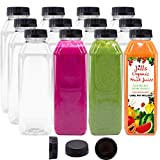 12 OZ Empty PET Plastic Juice Bottles - Pack of 12 BPA Free Reusable Clear Disposable Milk Bulk...