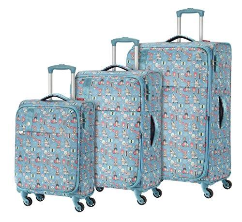 Travelite Lil'Ledy Buntes Reisegepäck/Rucksack/Kindertrolley/Handtasche/Reise Koffer-Set, 3 teilig, Weichschale, Hartschale, in Kawaii Optik, 76/66/55 cm,...