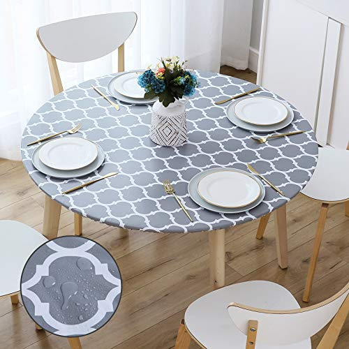 smiry Round Fitted Vinyl Tablecloth - Elastic Edged Flannel Backed Vinyl Tablecloth, Waterproof Wipeable Grey Moroccan Trellis Pattern Table Cloth for Outdoor Indoor Room