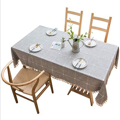 Unbekannt Waschbare Baumwolle LeinenTischdeckeNähteDesign Tischdecke Rechteck Tischdeckeidealfür Küche Esstisch Buffet Dekoration grau 140X60CM
