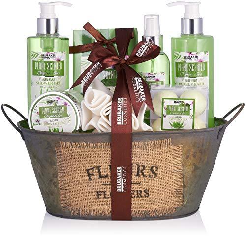 BRUBAKER Cosmetics - Coffret de bain & douche - Aloe vera - 11 Pièces - Bassine vintage décorative - Idée cadeau