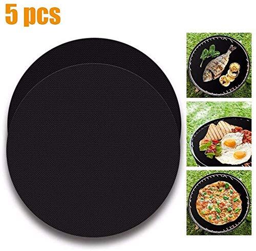 CSZZL grillfolie, Wiederverwendbare runde Antihaft-Grillmatte, Grillpfannenfritteuse innen, für Holzkohlegrill, Elektroherd, Mikrowelle-5