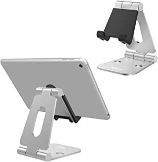 Nulaxy Foldable Tablet Phone Stand Compatible with Nintendo Switch Desk Holder for iPad Air Pro iPhone Xs/XR/XS Max/X 8 7 6 Plus, Samsung Galaxy Tab, Android Phones, Tablets E-Readers, Silver Plus