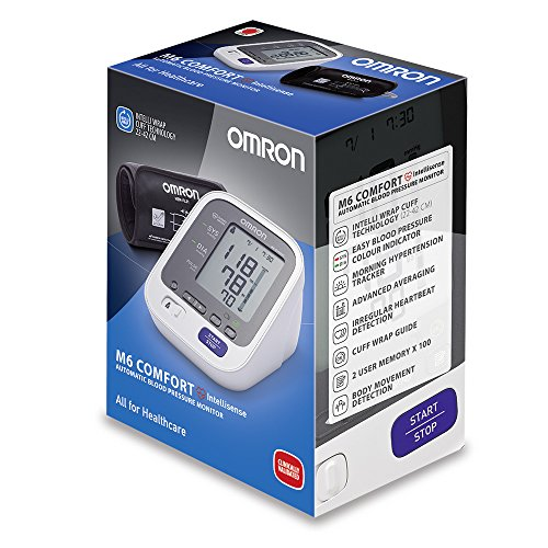 OMRON M6 Comfort Tensiomètre Bras Électronique, Technologie Brassard Intelli Wrap, Mesure fiable dans toutes les positions, Mémoire jusqu'à 200 mesures