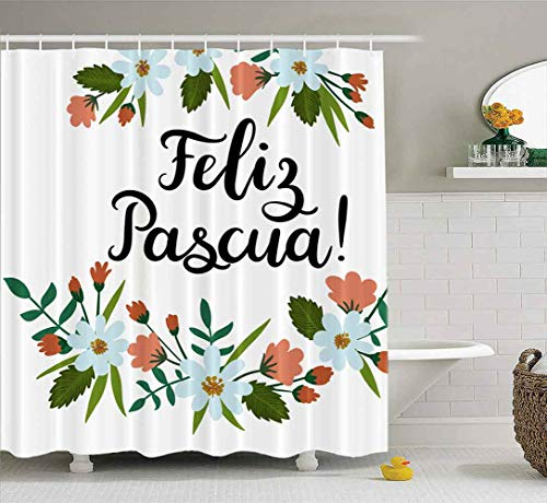 Farmhouse Shower Curtain,EMMTEEY Happy Easter in Spanish Lettering Greeting Card Modern Calligraphy Floral Wreath Brush 72X78Inch Bath Shower Curtain Waterproof for Kids Shower Curtain Bathroom Decor