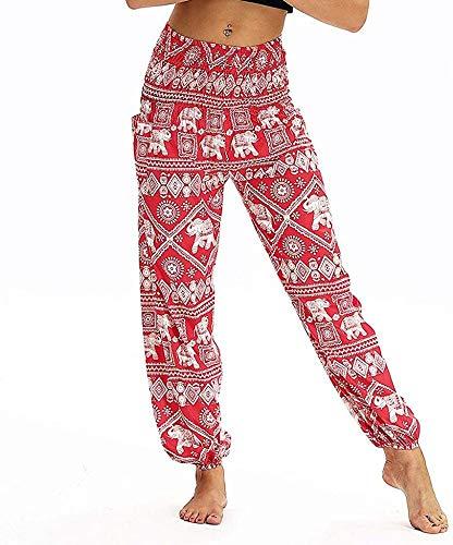 NOLLY yogabroek dames losse broek jumpsuit, damesmode bloemen broek met wijde pijpen eenheidsmaat