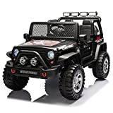Sopbost 12v 7Ah Ride On Truck, Electric Ride On Car for Kids w/ Parent Remote Control, USB, Bluetooth, Battery Powered Electric Car w/ Spring Suspension, LED Lights, Music (Black)