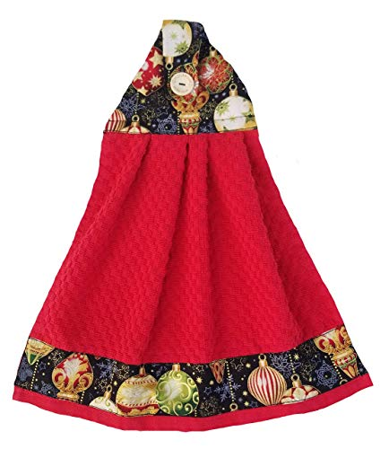 Christmas Hanging Towel Holiday Red Kitchen Hanging Hand Towel