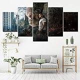 TJJQT Peintures sur Toile Impression sur Toile de cinéma King Kong Gorilla 5 Pièces...