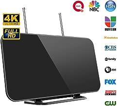Antena TV, Antena Digital Interior HDTV con Rango de Recepción 128 KM, 3 Metros de Cables Alto Rendimiento, Amplificador de Señal Más Canales de TV Gratis, Soporte 4K 1080 y Todos los televisores