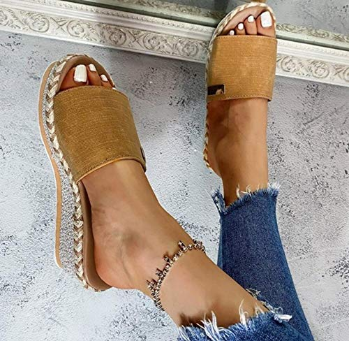 MMWW Zapatillas de Estilo para el hogar,Sandalias Informales Tejidas de Paja para Damas, Zapatillas en el talón Inclinado-Amarillo_36,Sandalias De Ducha de Casa