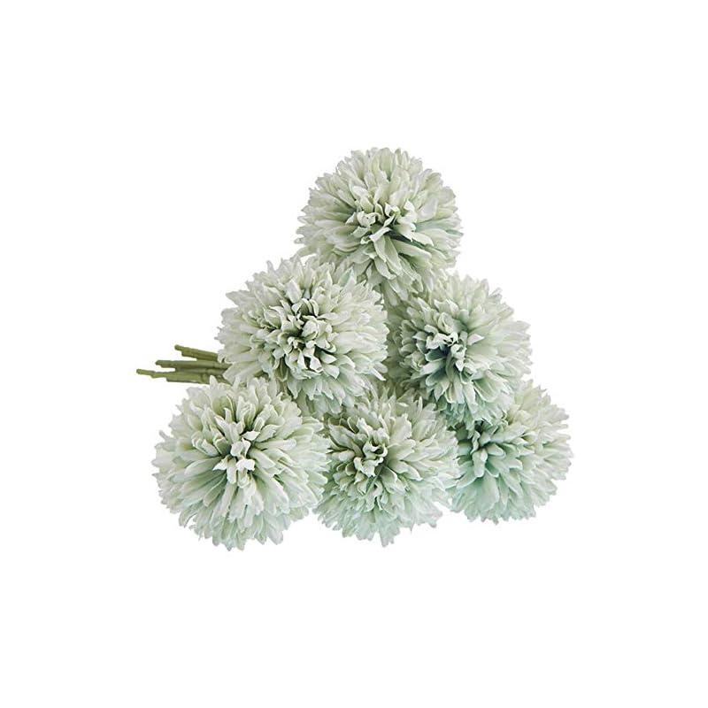 silk flower arrangements cqure artificial flowers, fake flowers silk plastic artificial hydrangea 6 heads bridal wedding bouquet for home garden party wedding decoration 6pcs (green)