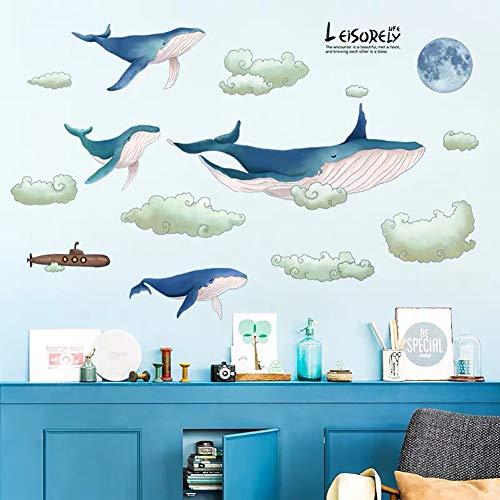 WandSticker4U®- XL Aquarell Wandtattoo WAL Familie blau I Wandbild: 135x67 cm I Unterwasserwelt Fische Sticker Wolken Mond U-Boot I Fliesen-aufkleber Badezimmer Bad Wand Deko für Kinderzimmer Kinder