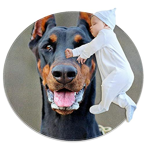 Tappeto circolare Pad assorbente circolare (100x100cm 39.4x39.4IN), ritratto di cane dobermann
