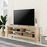 Wampat Farmhouse Universal TV Stand for TV's up to 65' Flat Screen Living Room Storage Shelves Entertainment Center, 59 Inch, Rustic Oak