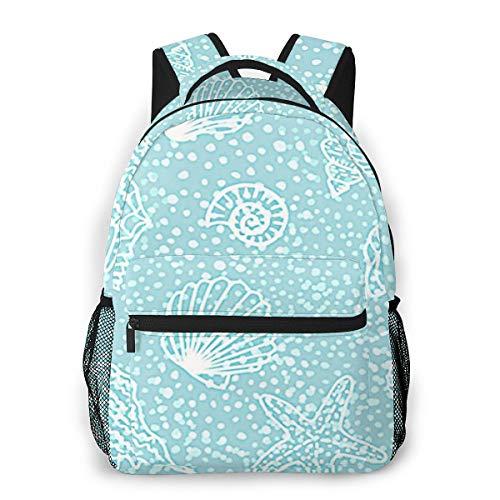 Laptop Rucksack Schulrucksack Strandmuscheln E, 14 Zoll Reise Daypack Wasserdicht für Arbeit Business Schule Männer Frauen