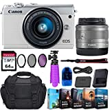 Canon EOS M100 Mirrorless Digital Camera (White) & 15-45mm STM Lens + 64GB Transcend Memory Card, Camera Bag & Essential Accessory Bundle
