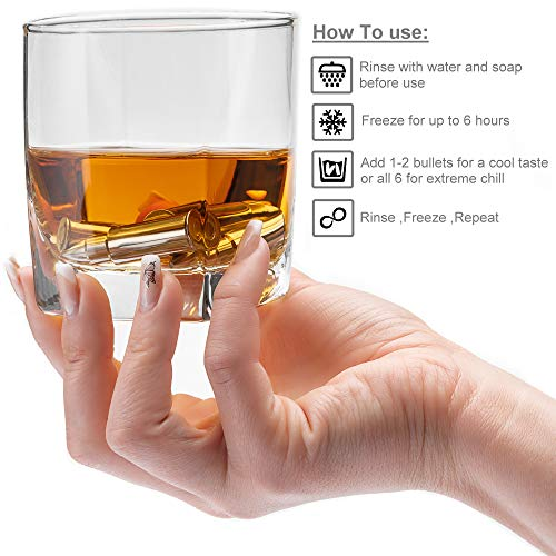 Product Image 4: Stainless Steel Bullet Shaped Whiskey Stones Set of 6 – Chilling Rocks – Ice Stones With Tongs And Freezer Pouch, Gift Idea for Whiskey Lovers
