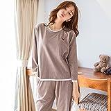 YI Pijamas Home Wear el Traje de Manga Larga de Color Sã³Lido de Moda Simple de Las Mujeres Puede Usar Pijamas de Otoã±o E Invierno,Segundo,L