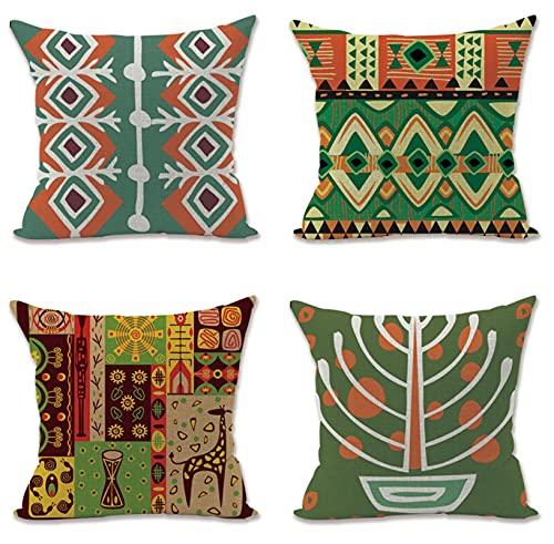 KaiXINSun Throw Pillow Cases Paquete De 4 18X18 Pulgadas Funda De Almohada Decorativa Cuadrada Casa Sofá Funda Cremallera Invisible 45X45Cm Maceta Verde Cuadrada