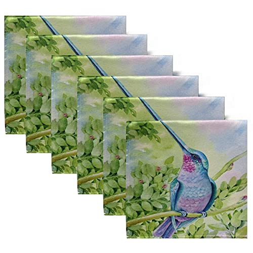 Servilletas de Tela Servilletas de Cena con colibrí Volador de Acuarela, Juego de 6, servilletas de Mesa Reutilizables para cócteles, Vacaciones, Bodas, hogar, decoración