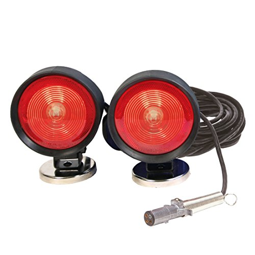 Custer Products HDTL30B Incandescent Round Base Heavy Duty Towing Lights, 4 pin plug, 30 ft. cord