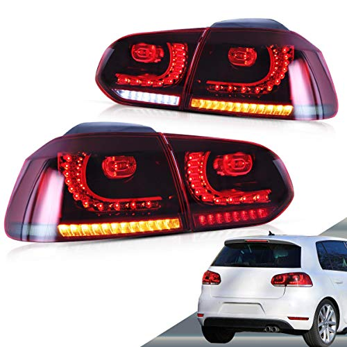 VLAND Sequential Tail lights for Volkswagen VW Golf 6 MK6 2010-2014, Full LED Rear Lamp Assembly with Sequential Turn Signal, Brake, DRL, Reverse and Fog Light, Red& Smoke, YAB-GEF-0183AHRS