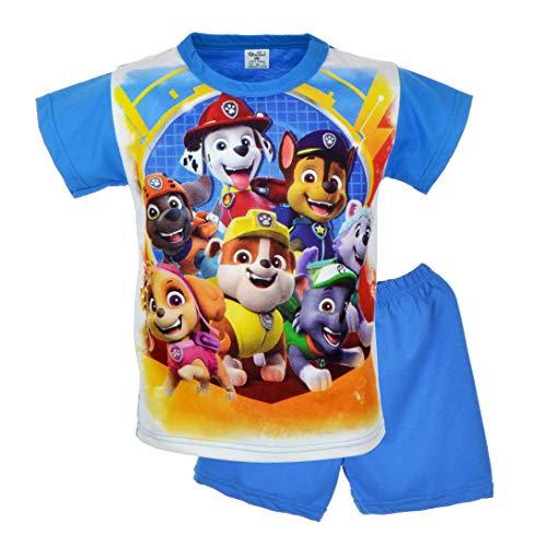 Kinder Junge Pyjama | 100% Baumwolle | Kurzarm | Nachtwäsche | Pyjama Set | Schlafanzug | Paw | Blau (98-3 Jahre, Blau)