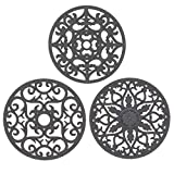 IPHOX Silicone Mat, Silicone Coaster Set, Silicon Multi-purpose Trivet Stand in Holder (Set of 3) Non Slip, Flexible, Durable, Dishwasher Safe Waterproof Heat Resistant Carved Hot Pad Coasters, Gray